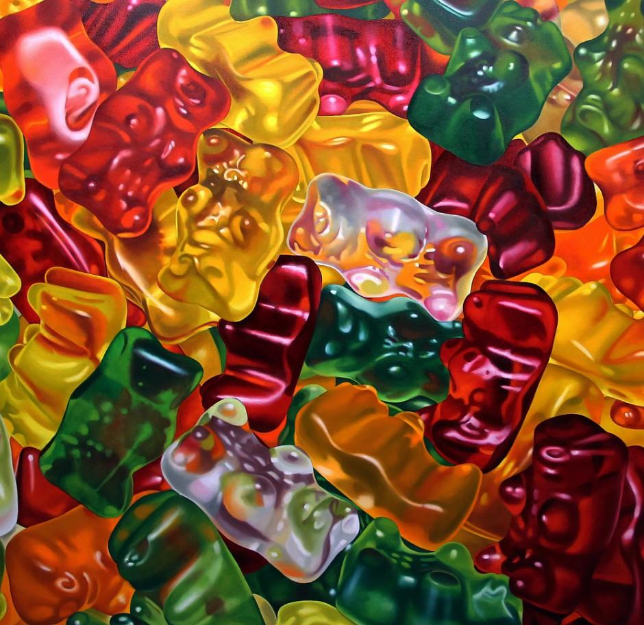 Gummibärchen, Öl auf Leinwand, 100 x 100 cm, 2015