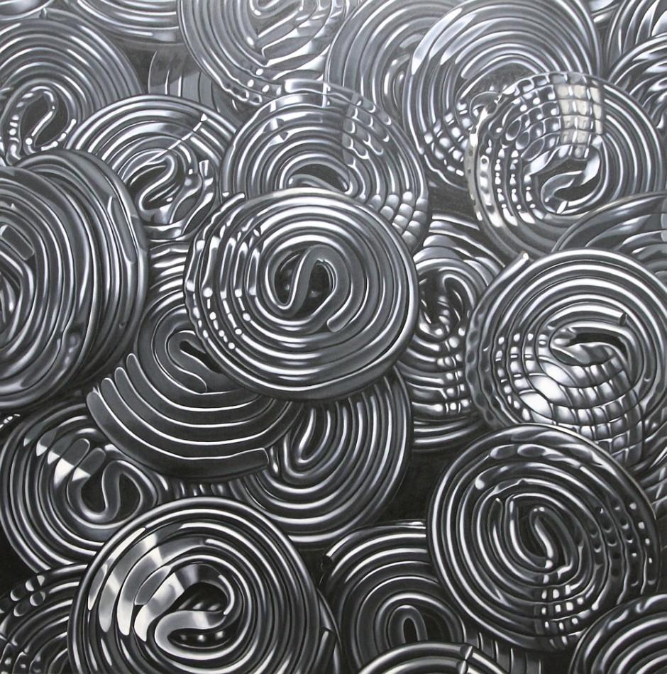 Lakritzschnecken 5, Öl auf Leinwand, 180 x 180 cm, 2013