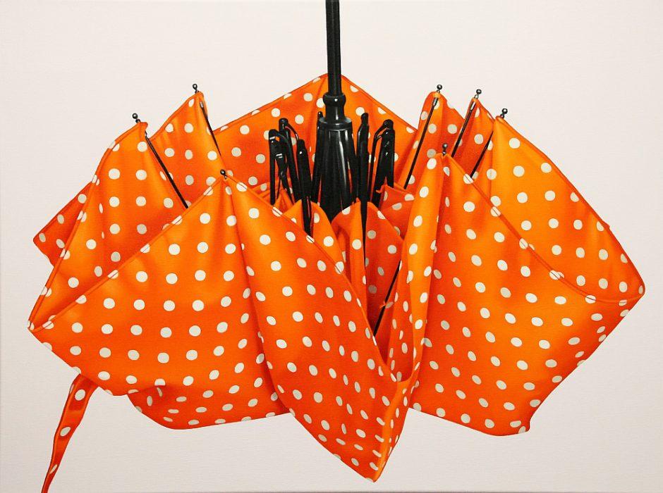 oranger Regenschirm, Öl auf Leinwand, 60 x 80 cm, 2016