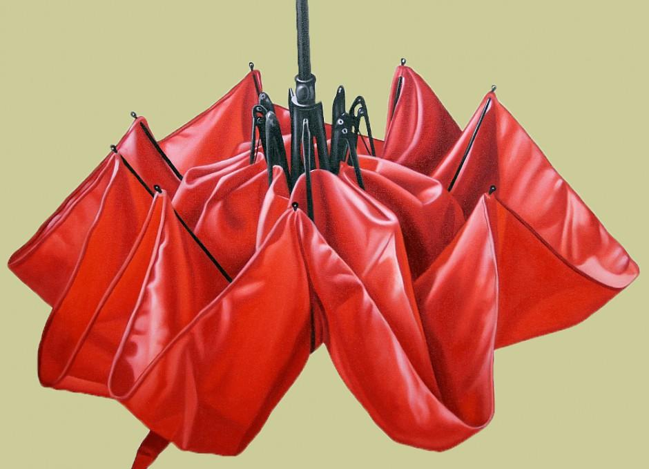roter Regenschirm, Öl auf Leinwand, 60 x 80 cm, 2014