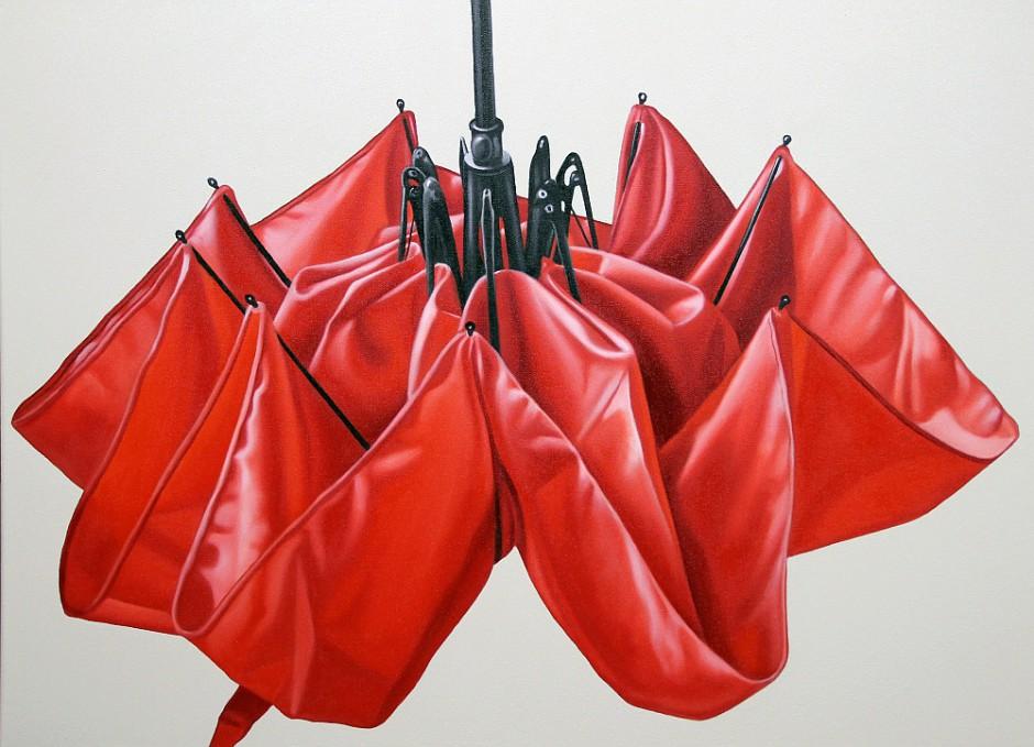 roter Regenschirm, Öl auf Leinwand, 60 x 80 cm 2013