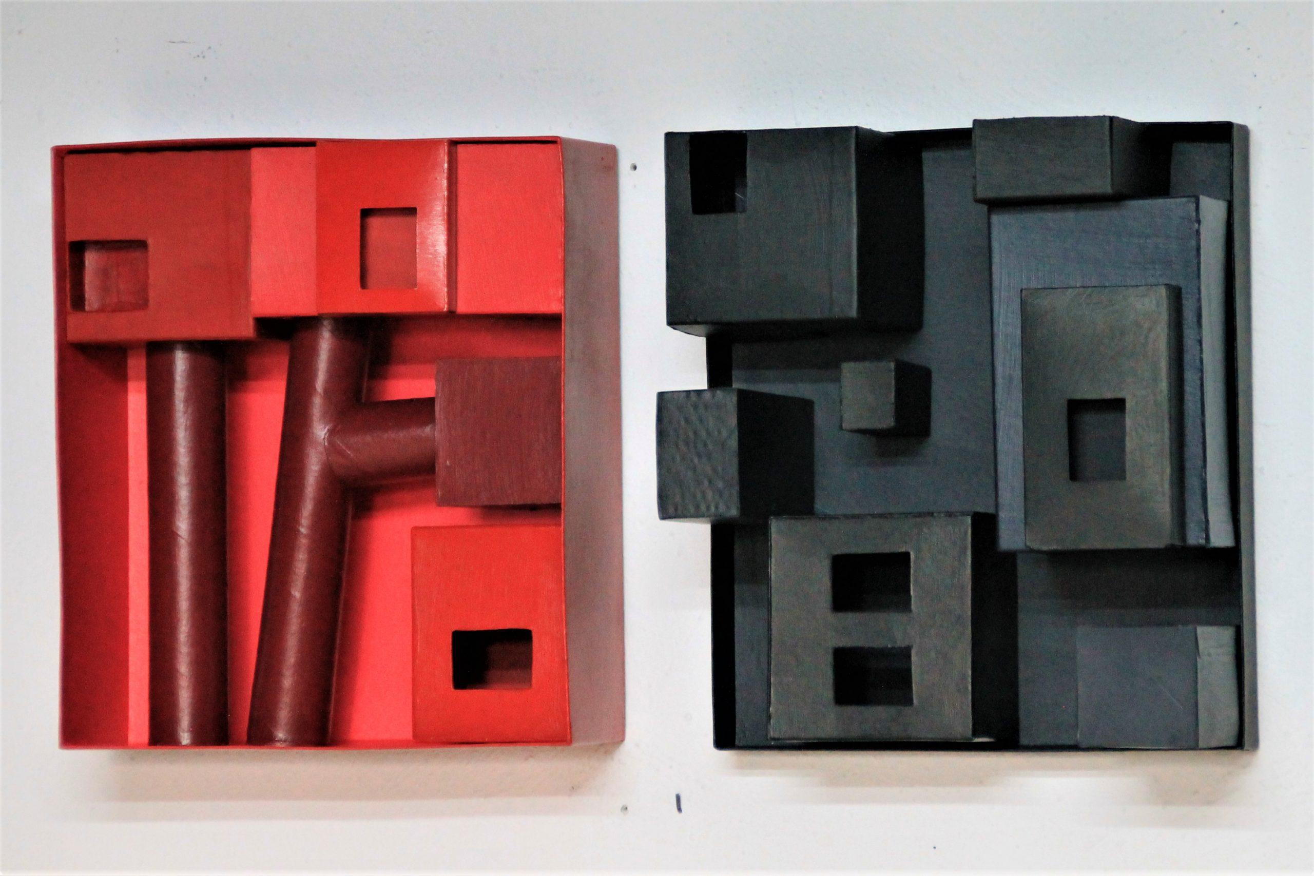 die rote Stadt, die schwarze Stadt, je 32 x 28 12 cm, Pappe, Kartons, Lack, 2020